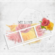 Retro background with stamp-frame and pastel rose — Stock Photo