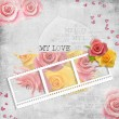 Retro background with stamp-frame and pastel rose — Stock Photo #5214969