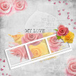 Retro background with stamp-frame and pastel rose - Stock Photo