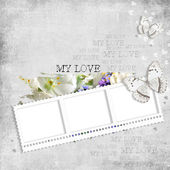 Retro background with stamp-frame, flowers and butterfly — Stock Photo