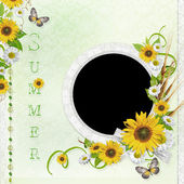 Summer background with frame and flowers (1 of set) — Stock Photo