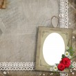Old decorative frame with flowers and pearls — Stock Photo