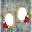 Stock Photo: Old decorative frame with flowers and pearls