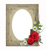 Isolated old vintage paper frame with flowers — 图库照片