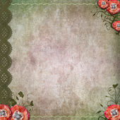 Vintage background with poppy, lace — Stock Photo