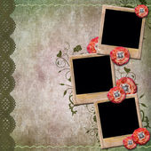 Vintage background with old frames for photos, poppy, lace — ストック写真