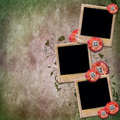 Vintage background with old frames for photos, poppy, lace — Stock Photo