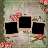 Vintage background with old frames for photos, poppy, lace — Stockfoto