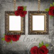 Royalty-Free Stock Photo: Bronzed vintage frames on old grunge background (1 of set)