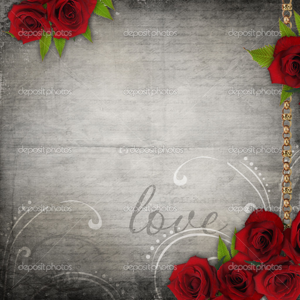 Bronzed vintage frames on old grunge background  with red roses and lace  — Stock Photo #5375286