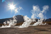 Geyser field El Tatio in back lighting, Atacama region, Chile — Stock fotografie