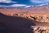 View from Valle de la Muerte (Death Valley) on the dune and Andes — Stock Photo