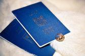 Trouwringen en paspoorten van israël op boa — Stockfoto