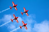 Four airplanes in formation on airshow — 图库照片