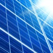 Solar panel with sunbeams - Foto Stock