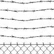 Stock Photo: Wired fence with barbed wires