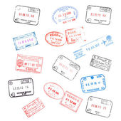 Set of various passport visa stamps — 图库照片