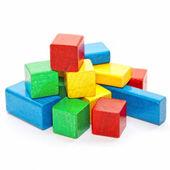 Heap of color wooden bricks — Stock Photo