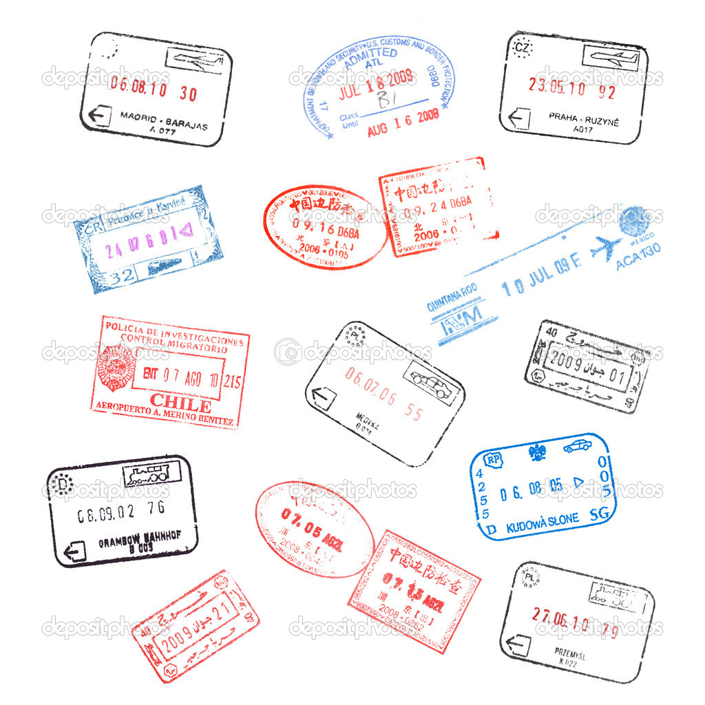 Set of various passport visa stamps  Stock Photo #5242711