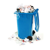 Overflowing blue garbage bin — Foto Stock