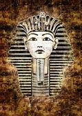 Tutankhamun Egyptian Pharaoh. Golden Mask likeness. Grunge wall — Stock Photo