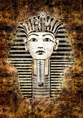 Tutankhamun Egyptian Pharaoh. Golden Mask likeness. Grunge wall — Stock Photo