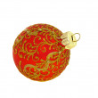 Christmas decoration, the red ball isolated on white — Stock Photo
