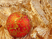Beautiful red ball Christmas ornament — Stok fotoğraf