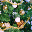 Christmas tree decorated with silver balls — Stock Photo #4484455