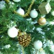 Christmas tree decorated with silver balls — Stock Photo #4484754