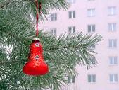 Christmas tree with toys. Rime on the needles — Stock Photo