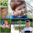 Summer collage. Children on the green grass — Stock Photo