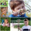 Summer collage. Children on the green grass — Stock Photo #4596603