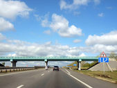 Beautiful summer landscape with a highway — Stock Photo