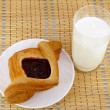 Fruit puff pastry with milk. Breakfast - Stock Photo