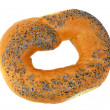 A delicious bagel with poppy seeds isolated on a white background - Stock Photo