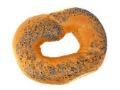 A delicious bagel with poppy seeds isolated on a white background — Stock Photo