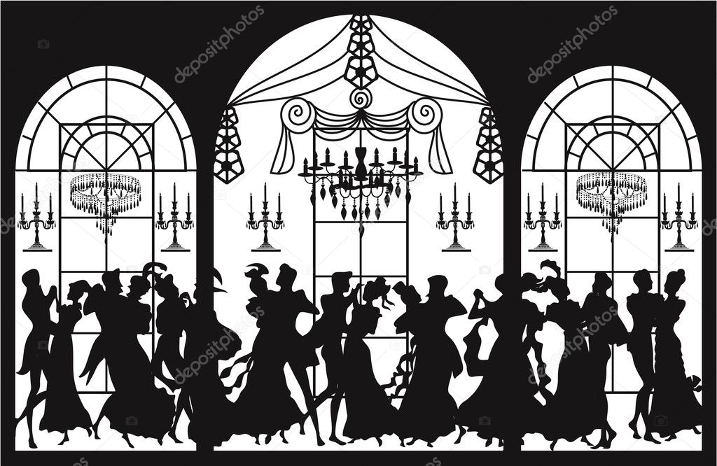 Background with silhouettes of dancing couples  — Stock Vector #4164975