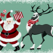 Santa Claus and reindeer — Stock Vector