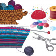Items for knitting and sewing - Stok Vektör
