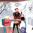 Winter shopping in Paris — Imagen vectorial