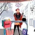Kış Paris'te alışveriş — Stok Vektör