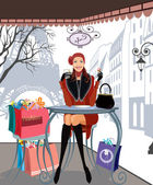 Winter shoppen in parijs — Stockvector