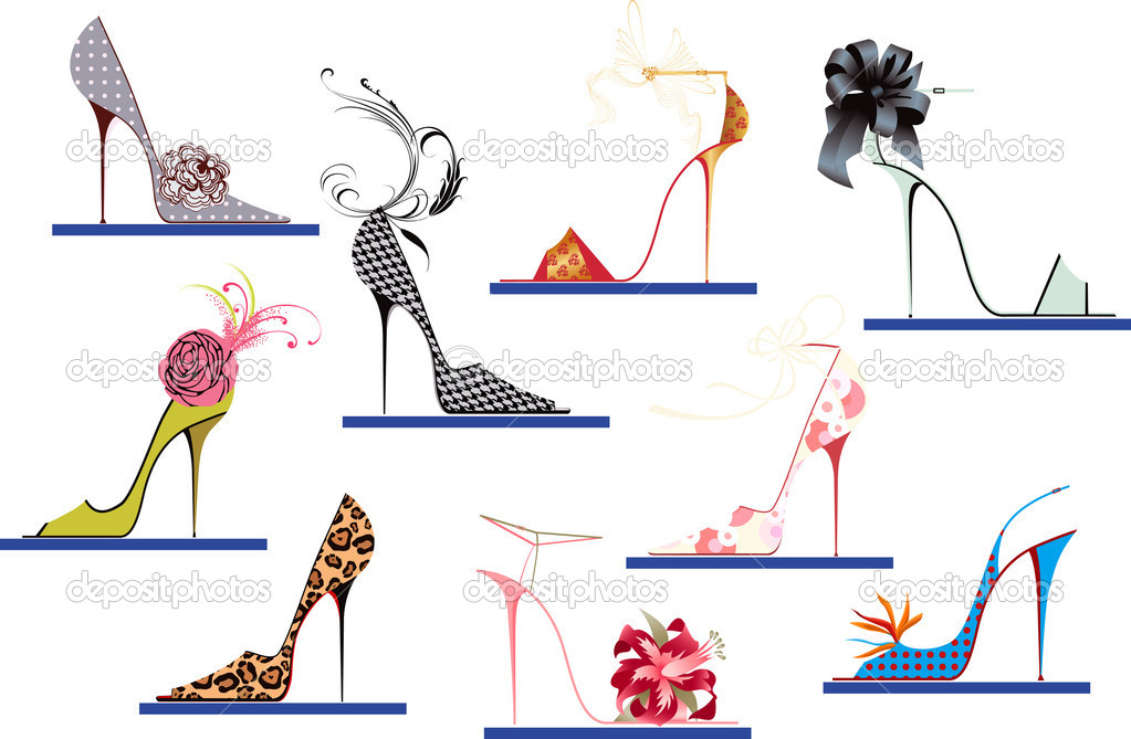 Collection of women's shoes with high heels — Stock Vector #4658820
