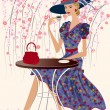 Woman at a cafe — Imagen vectorial