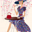 Royalty-Free Stock Imagen vectorial: Woman at a cafe
