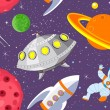 Cartoon space seamless background - Imagens vectoriais em stock