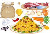 Pilaf and ingredients — Stock Vector