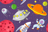 Cartoon space seamless background — Vector de stock