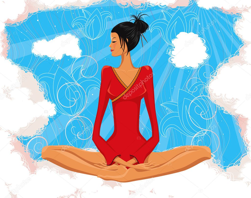Vector illustration of woman meditating in the lotus position — Stock Vector #4965811
